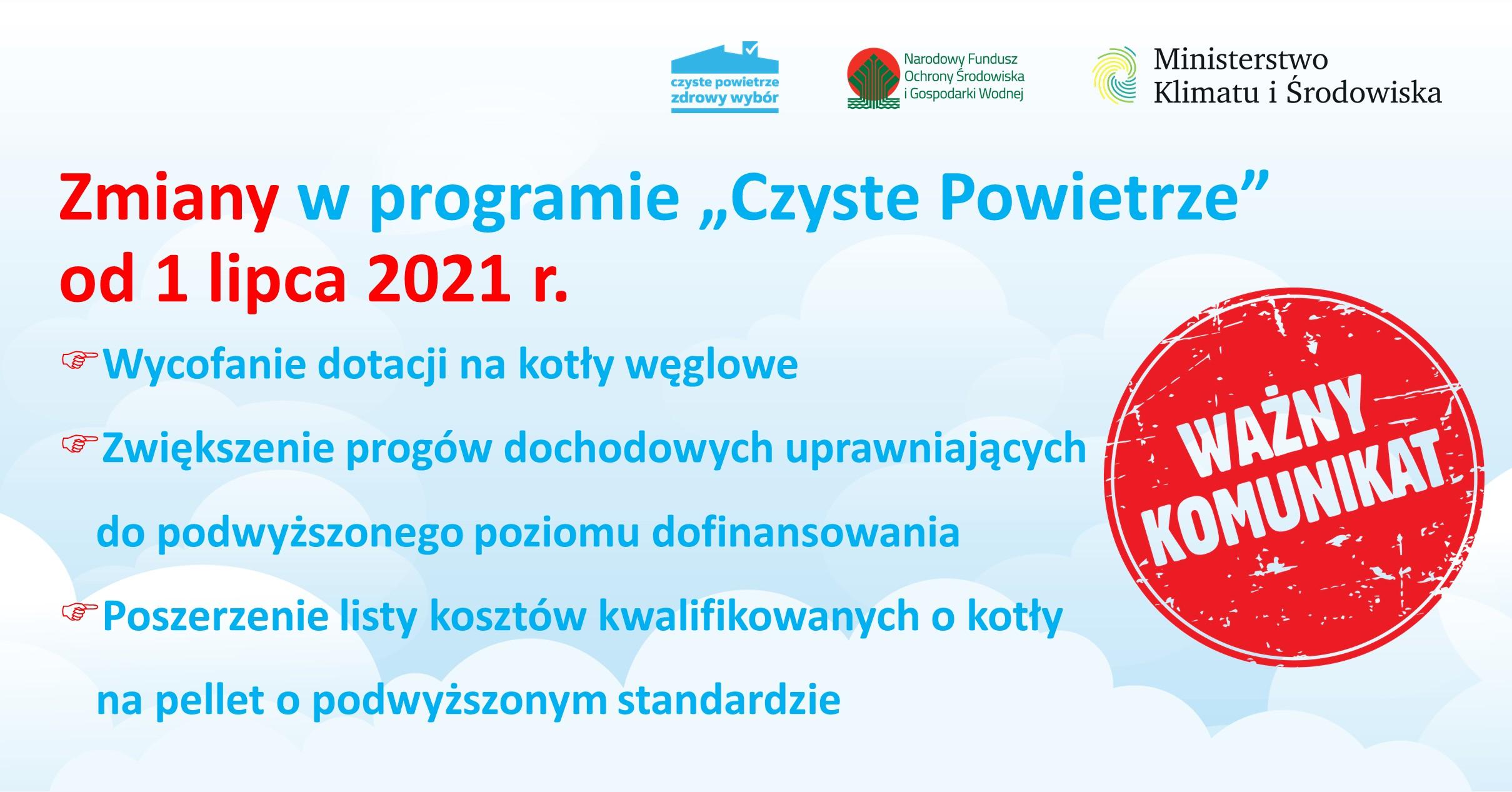 Zmiany w PP Czyste powietrze od 1 lipca 2021 r.